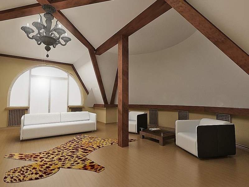 Мансардные потолки: дизайн с применением пленки, гипсокартона, вагонки