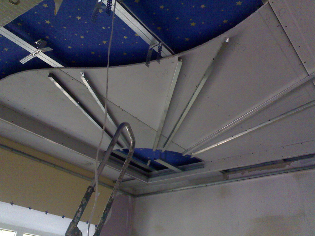 Потолок солнышко из гипсокартона в детской