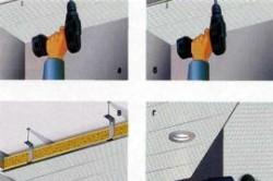 После завершения крепления панелей к потолку можно заняться креплением светильников (должны быть заготовлены для них отверстия)