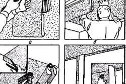 Этапы: а — складывание обоев; б — начало наклеивания; в — прижатие обоев и разглаживание щеткой (отрезание лишней части ); г — наклеивание потолочных обоев на вертикальную поверхность стены для создания бордюра