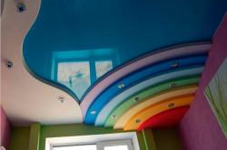 Когда ребенок маленький и развивается, на потолке уместно и полезно будет изображение радуги, в которой уже семь цветов.