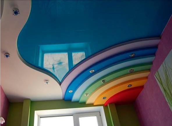 Оформление потолка в детской, дизайн потолка своими руками
