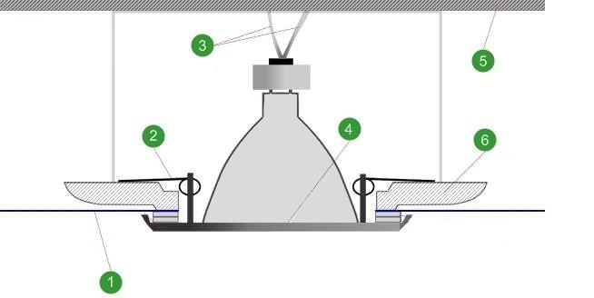 Схема монтажа светильника: 1.