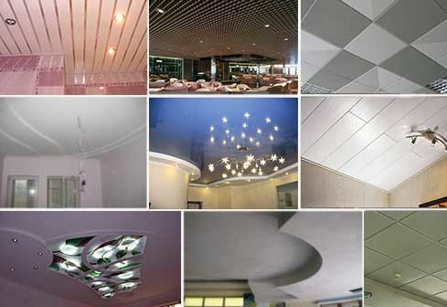 Виды потолков: плиточный, панельный, реечный, кассетный, решетчатый, натяжной, гипсокартонный, витражный.