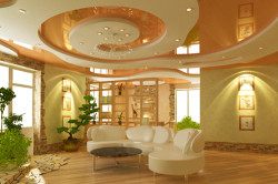 Лучше делать подвесной потолок из гипсокартона в спальне многоуровневыми с оригинальной подсветкой.