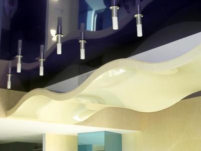 Каркас многоуровневого потолка изготавливается из негорючего материала. Такой показатель соответствует требованиям пожарной безопасности.