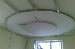 Обшитый гисокартоном каркас потолка
