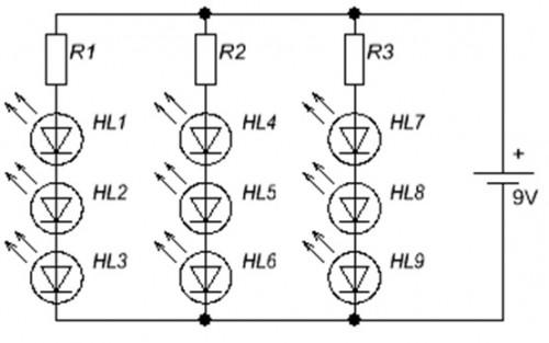 Схемы последовательного подключения светодиодные лампы