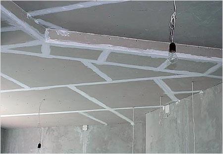 Шпатлёвка стыков потолка из гипсокартона