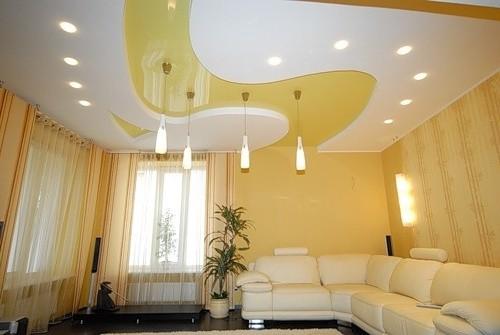 Красивые потолки из гипсокартона: конструкции и освещение (фото)