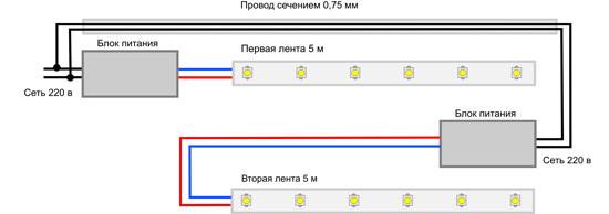 Схема подключение светодиодной ленты