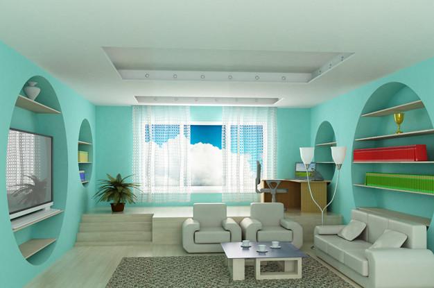 Комната с карнизом прикрепленным на потолок на гипсокартон