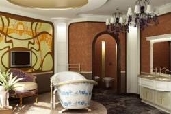 Шоколадный потолок в ванной