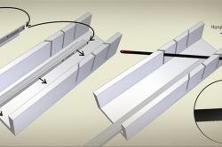 Схема направления подрезки потолочного плинтуса