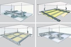 Схема поэтапного монтажа двухуровневого потолка
