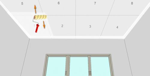 Схема покраски потолка валиком