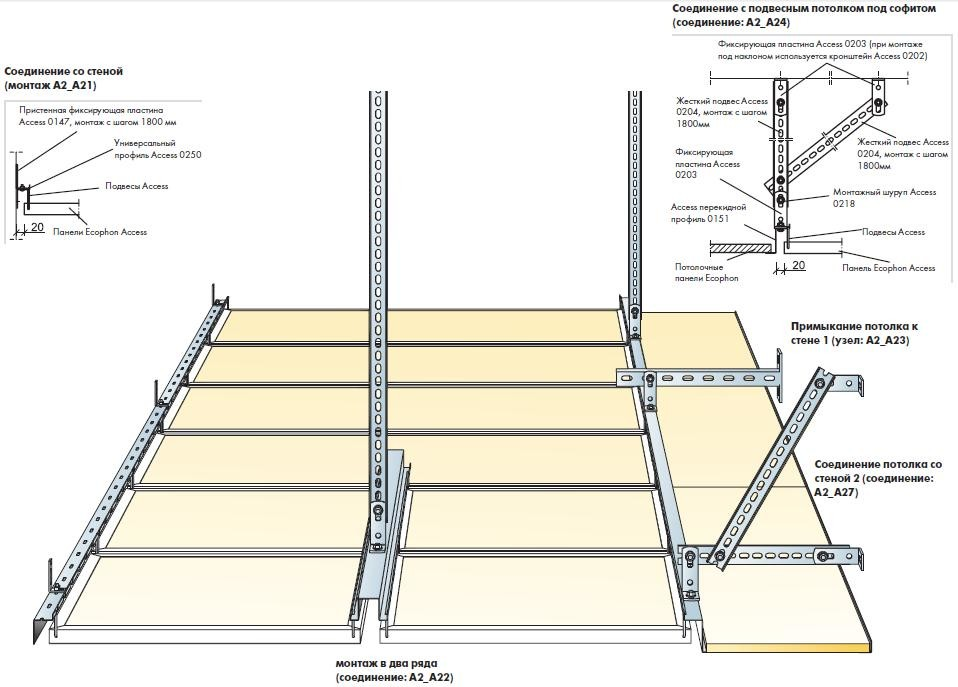 Схема установки подвесного