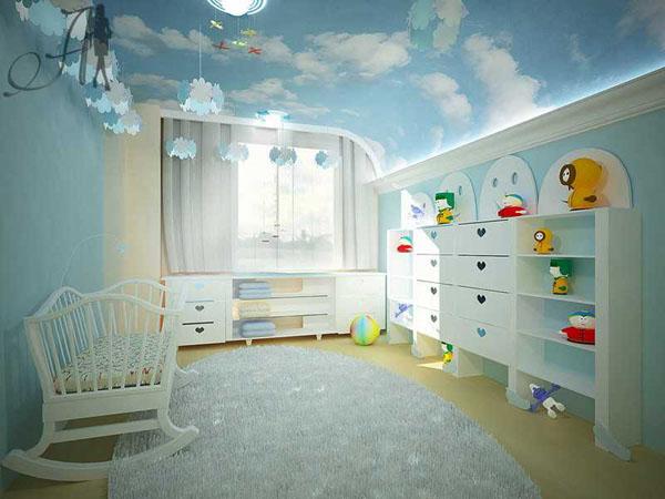 Дизайн потолка в детской