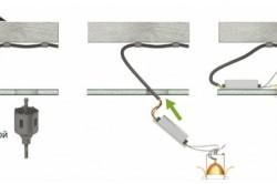 Этапы монтажа светильника в гипсокартонный потолок.