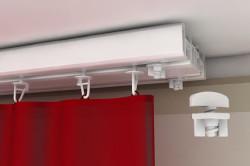 Комплектация потолочного карниза включает: набор стопоров, набор крючков, несущий профиль.