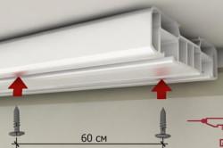 Монтаж потолочного карниза может быть произведен на любое жесткое основание. Рекомендованное расстояние между точками крепления 40-60 см.