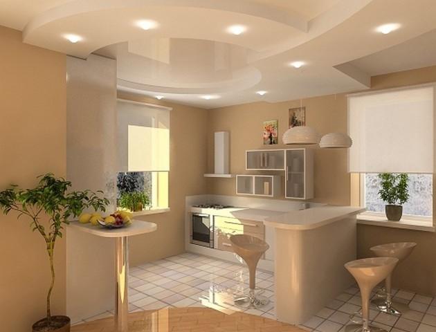 Кухня с подвесным гипсокартонным потолком