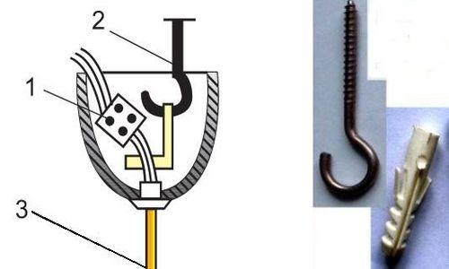 Схема монтажа люстры на крюке: