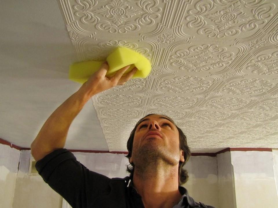 Ремонт своими руками покраска потолка по обоям