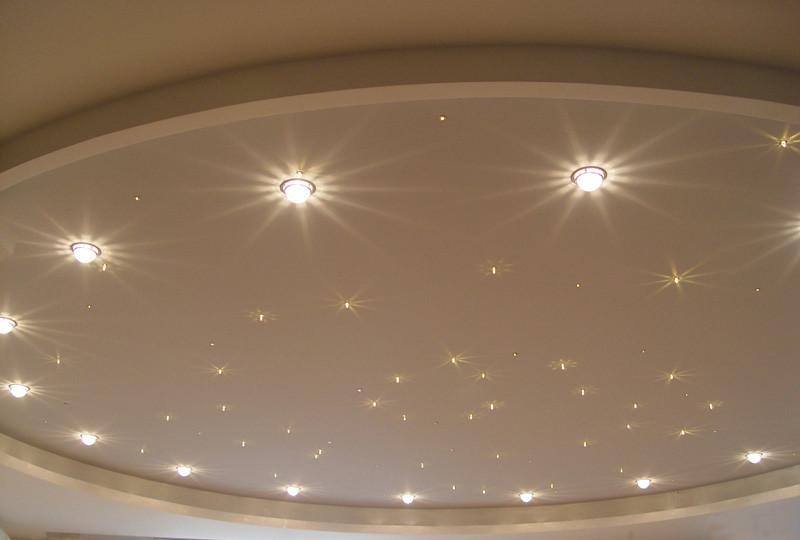 Монтаж освещения в подвесной