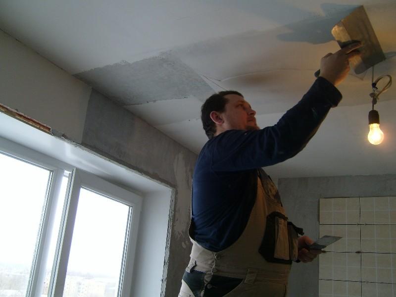 Процесс подготовки потолка