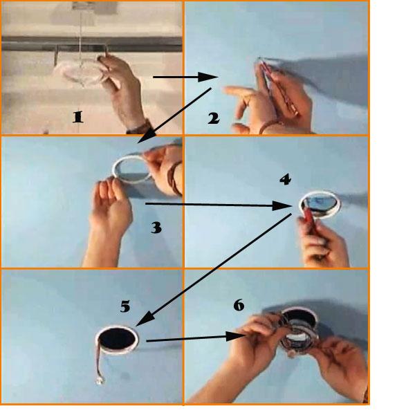 Схема установки светильника в