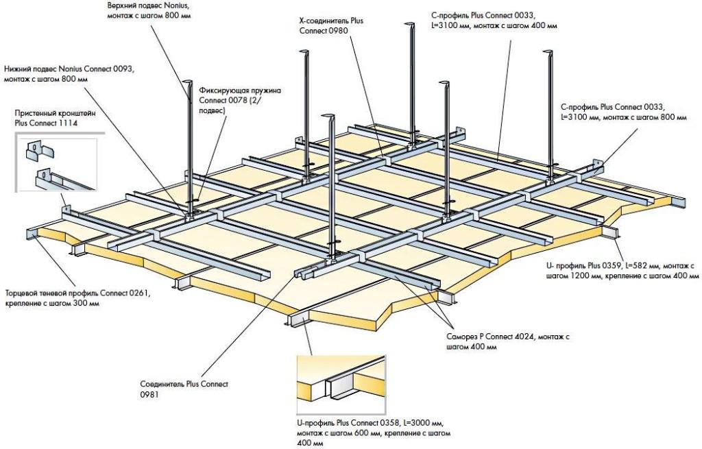 Схема монтажа подвесных