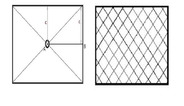 Разметка при укладке рядами (слева) и диагонально (справа).