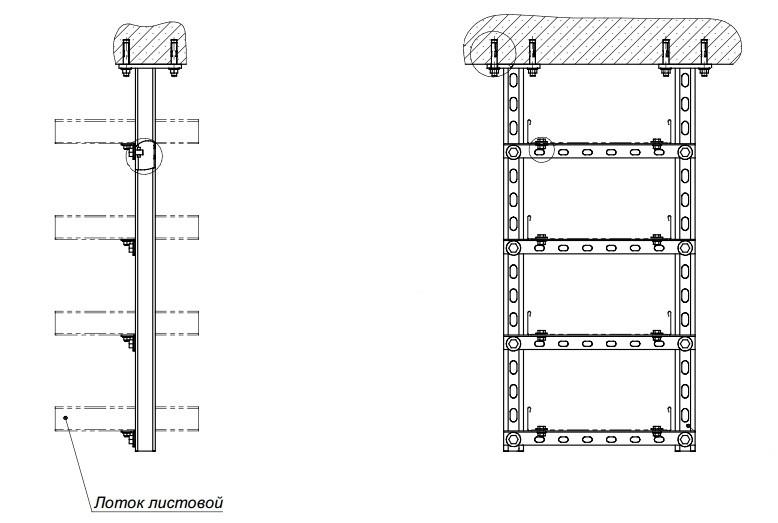 Г-образный монтажный профиль-полка для крепления кабелей