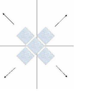 Отделку потолка плиткой необходимо начинать от центра потолка к краям.
