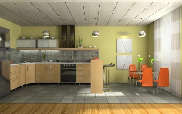 Потолок из пластиковой вагонки на кухне.