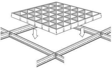 Решетчатые потолки имеют явный плюс - это легкий монтаж.