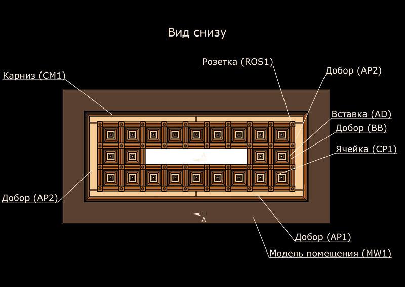 Схема деревянного потолка вид снизу