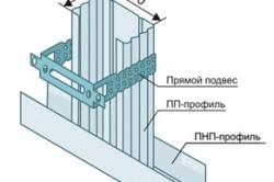 Схема крепления профиля к подвесу