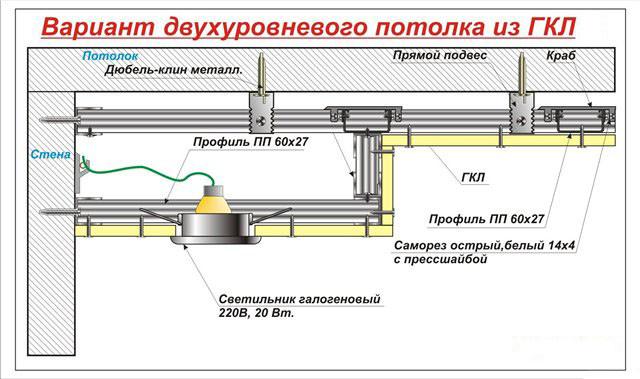 Схема монтажа двухуровневого