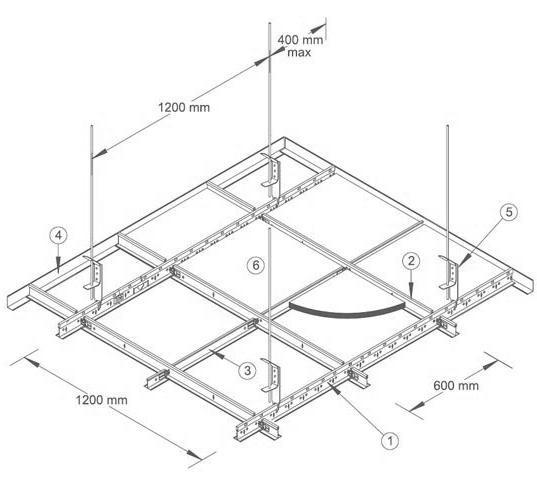 Схема размеров подвесного потолка