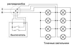 Схема подключения точечных потолочных светильников на 220В