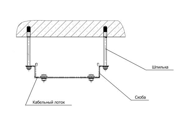 Крепление несущей полки на шпильки к потолку
