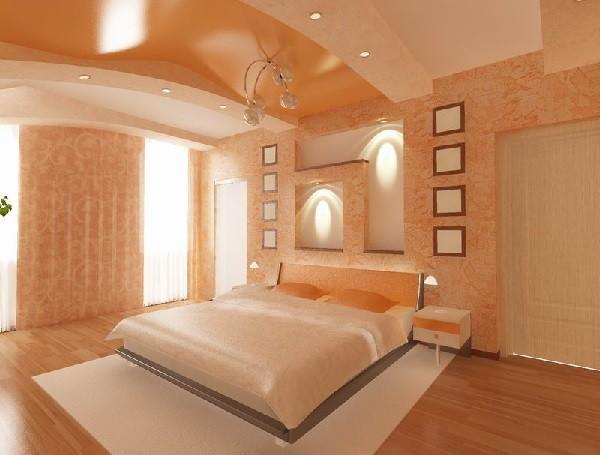 Спальня с подвесным потолком