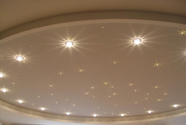 Точечная подсветка потолка.