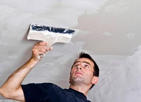 Процесс выравнивания потолка