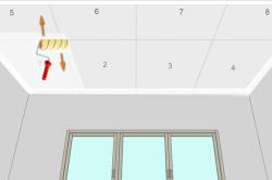 Схема последовательной покраски потолка