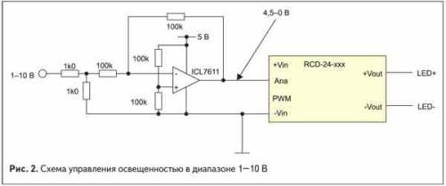 Схема управления освещенностью светодиодной ленты