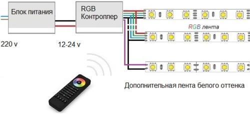Схема подключения RGB контроллера с использованием нескольких усилителей