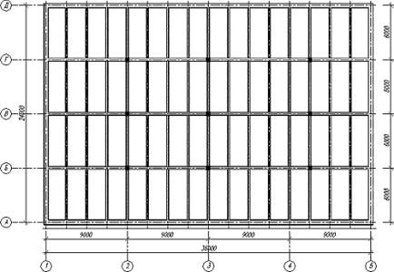 Конструктивная схема монолитного ребристого перекрытия